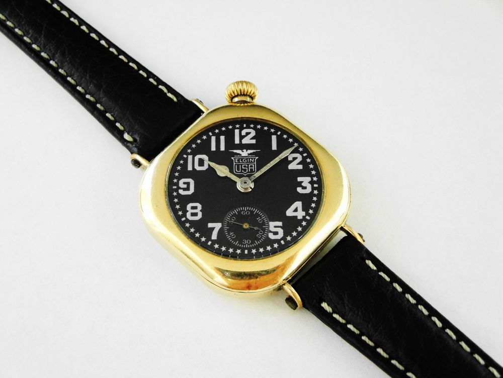 1918 WWI Offset Crown Elgin Admiral Benson Trench Watch, gold filled, 15 jewels, original factory crown , enamel Black Star Dial