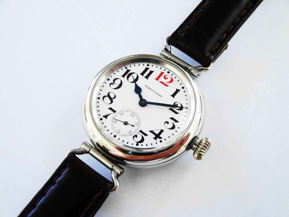 """1918 WWI Waltham RED 12 """"General Funston"""" Trench Watch, CUSTOM DISPLAY CASE BACK, 15 Jewels with Gold Flashing Accents, Illinois Nickel Case, SEMI-HERMETIC Threaded Case, Swivel Lugs, Factory Crown, Larger 34mm Case, Thick Blue Steel Hands, Dark Brown Leather Strap"""