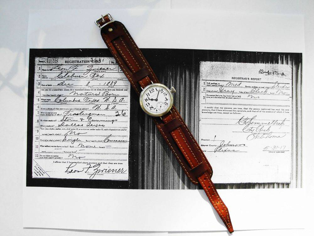 1914 WWI Waltham Trench Watch, Philadelphia Silverode Case, Factory Crown, 15 Jewels, BOLD Arabic Enamel Military Dial, Thick Blue Steel Hands, Leather Kitchener Strap. Originally Owned by Private Leon F. Zwiener of the US Army's 36th Division who served in France during WWI.