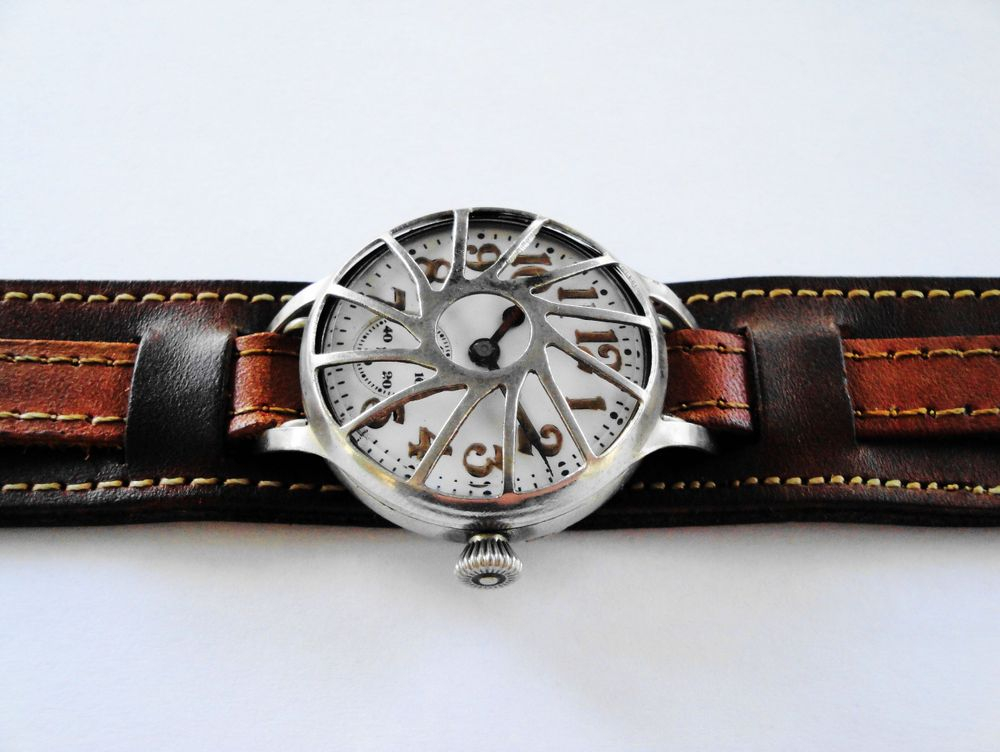 """1914 WWI Elgin Trench Watch, Originally Belonged to US Army Private William L. Casey, Served in France, Philadelphia Silverode Case, Case Back Inscription, Original Factory Crown, Original Factory Lume, Frank Farr """"Pinwheel"""" Crystal Guard, Original Factory Crystal, BOLD Arabic Enamel Military Dial, Dark Brown Leather Kitchener Strap"""