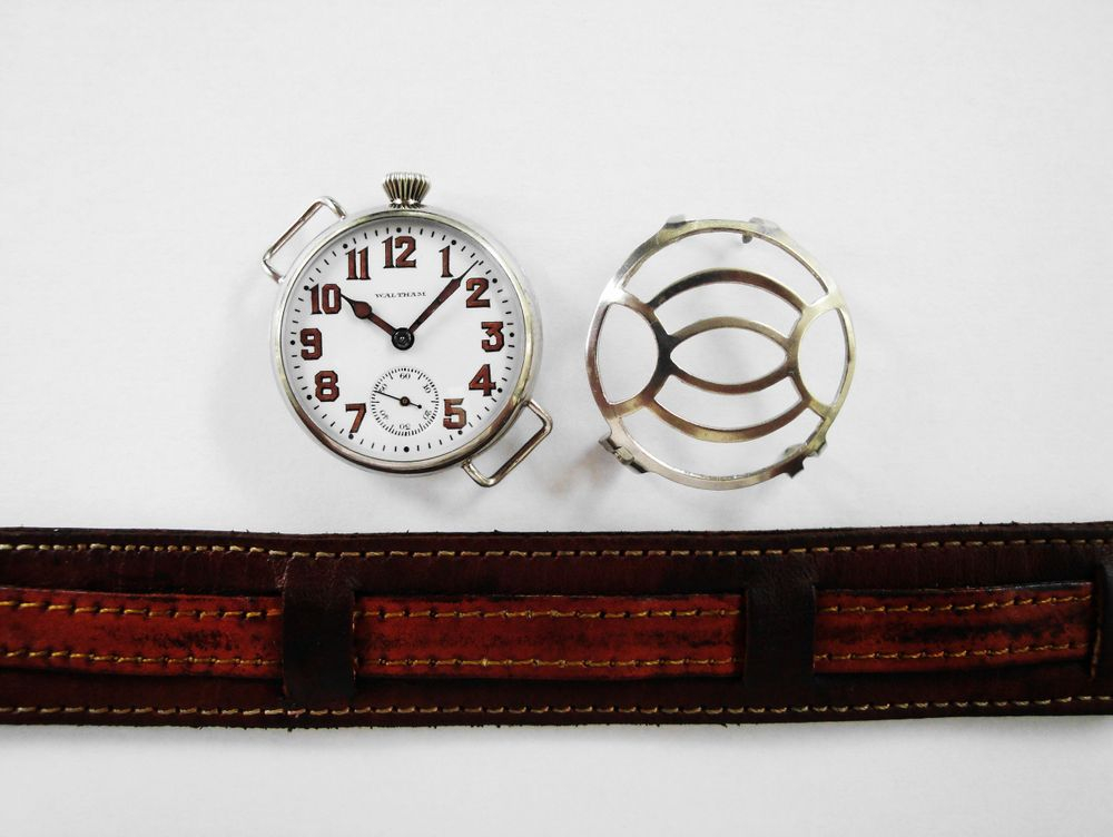 WWI Waltham Trench Watch, OFFSET CROWN, Philadelphia Silverode Case, BIG Size 0s Version, 17 Jewel RIVERSIDE Movement, Original Factory Crown, Re-Lumed Enamel Shadow Box Military Dial & Hands, Mealy DUO Crystal Guard, Leather Kitchener Strap