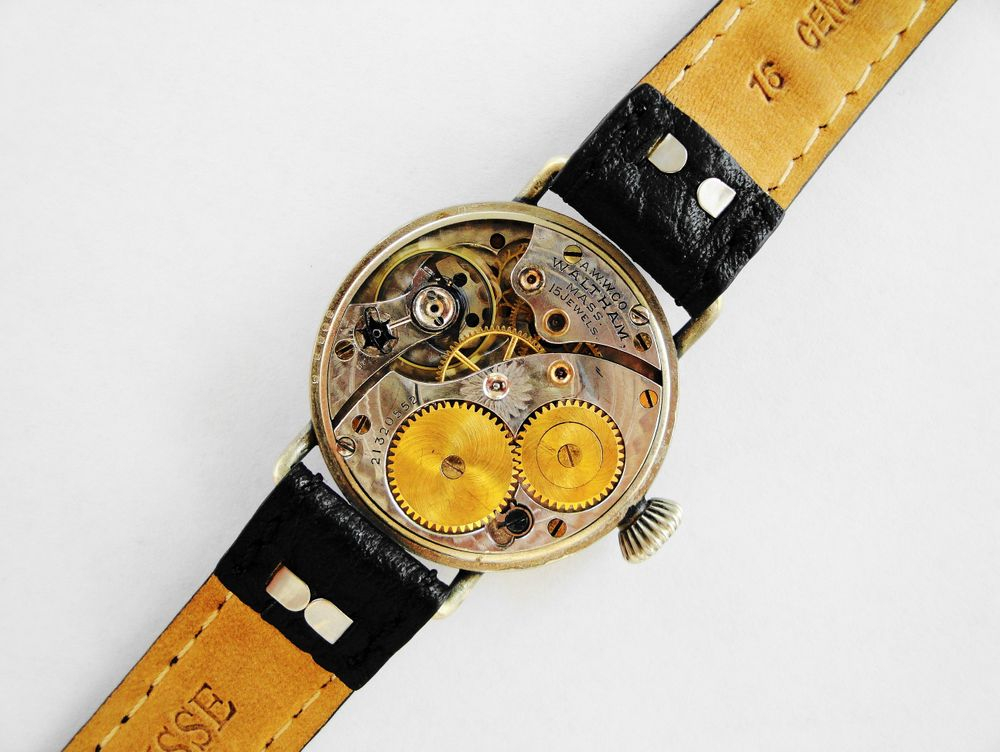1918 WWI Waltham Trench Watch, OreSilver Fahys Case, Original Factory Crown, 15 Jewels, 16mm Lugs, Re-Lumed Enamel Shadow Box Military Dial & Hands, Mealy DUO Crystal Guard, Black Leather Strap