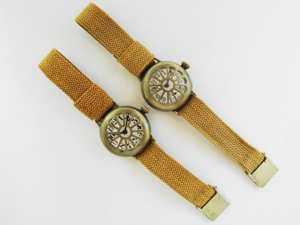 WWI Elgin & Waltham Trench Watches, Fahys Integrated Guard Case, Original KHAKI Straps