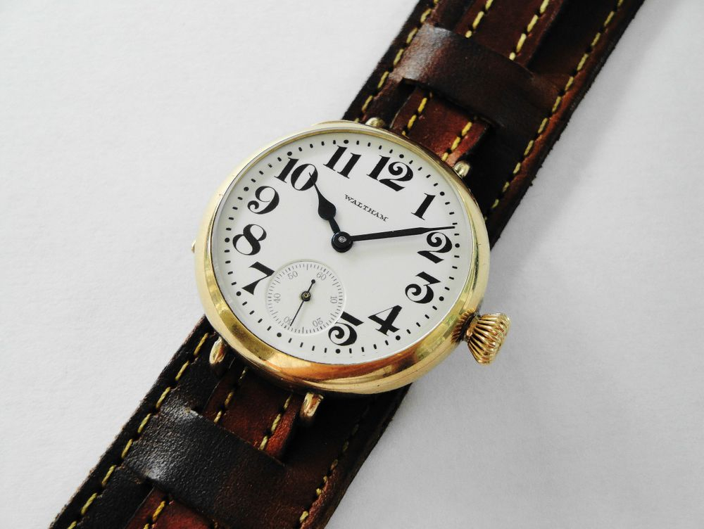 WWI Waltham Trench Watch, Bates & Bacon Gold Filled Case, Original Factory Crown, BIG Size 0s Version, 15 Jewels, Bold Arabic Enamel Military Dial, Correct Thick Blue Steel Hands, Hand Made Dark Brown Leather Kitchener Strap