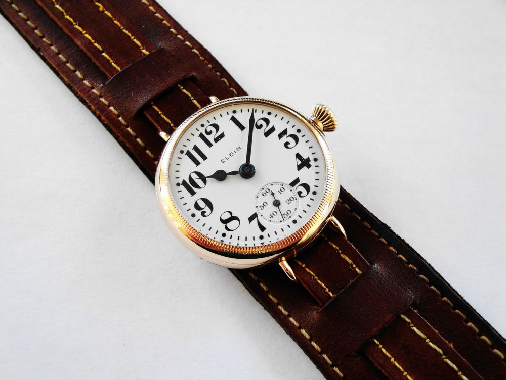 1917 WWI Elgin Trench Watch, 9k SOLID GOLD Keystone Case, COIN EDGE BEZEL, Factory Crown, Size 3/0s, 7 Jewels, BOLD Arabic Enamel Military Dial, Correct Thick Blue Steel Hands, Dark Brown Leather Kitchener Strap