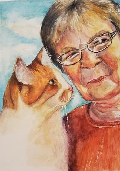 sandy bock, portrait artist, memorial portrait, custom portrait painting, custom portrait illustration, portrait art, family portrait, cat, pet portrait