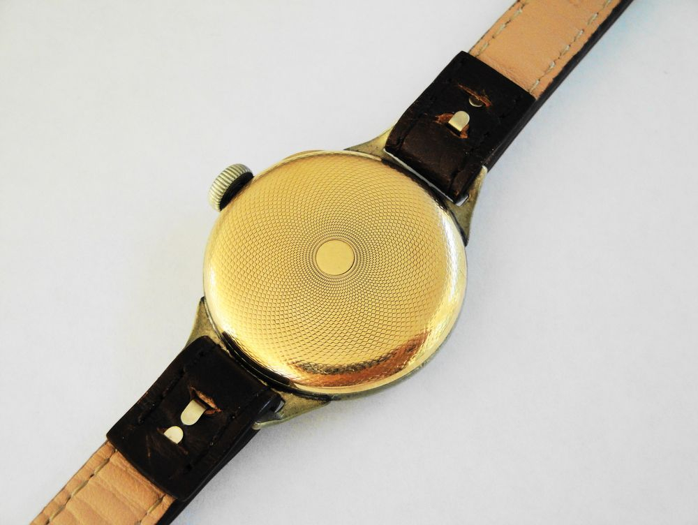 """1917 WWI Waltham Trench Watch, Ezra Fitch Designed 14k Gold Filled """"Engine Turned Case Back"""", BIG Size 0s Version, High End 16 Jewel Movement with many Solid Gold Parts, Original Factory Lume, Crown & Crystal, Dark Brown Leather Strap"""