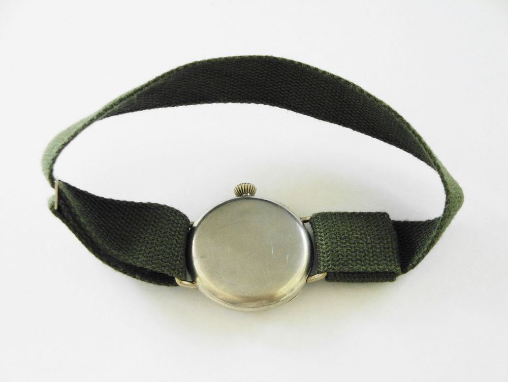 1917 WWI Waltham Trench Watch, BIG 34mm Fahys OreSilver Case, Original Factory Crown, 15 Jewels, BIG Size 0s Version, BOLD Arabic Enamel Military Dial, Re-Lumed, Hand Made 16mm Green Khaki Strap with a Slider Clasp