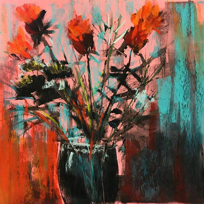 "JJohnson - Flowers in a Jar #2 - Pastels - 12""x12""- $300-"