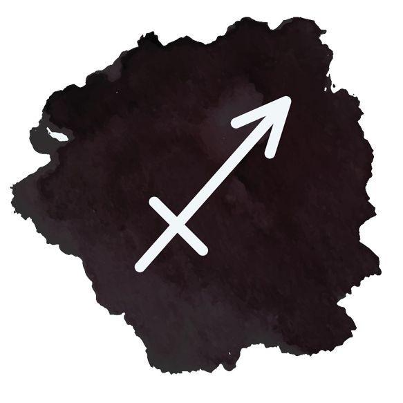 Image: watercolor Sagittarius symbol