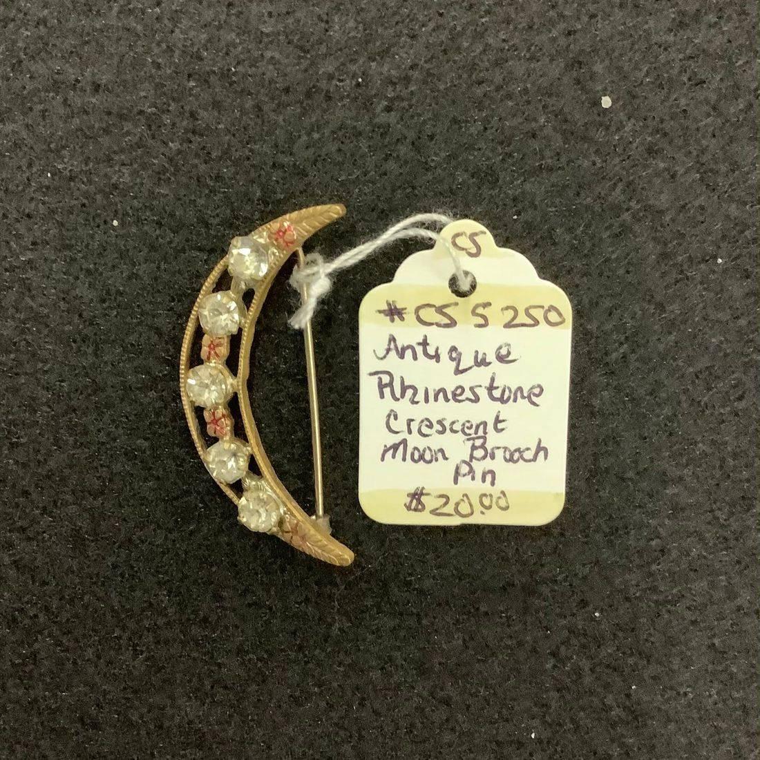Antique Rhinestone Crescent Moon Brooch  $20.00