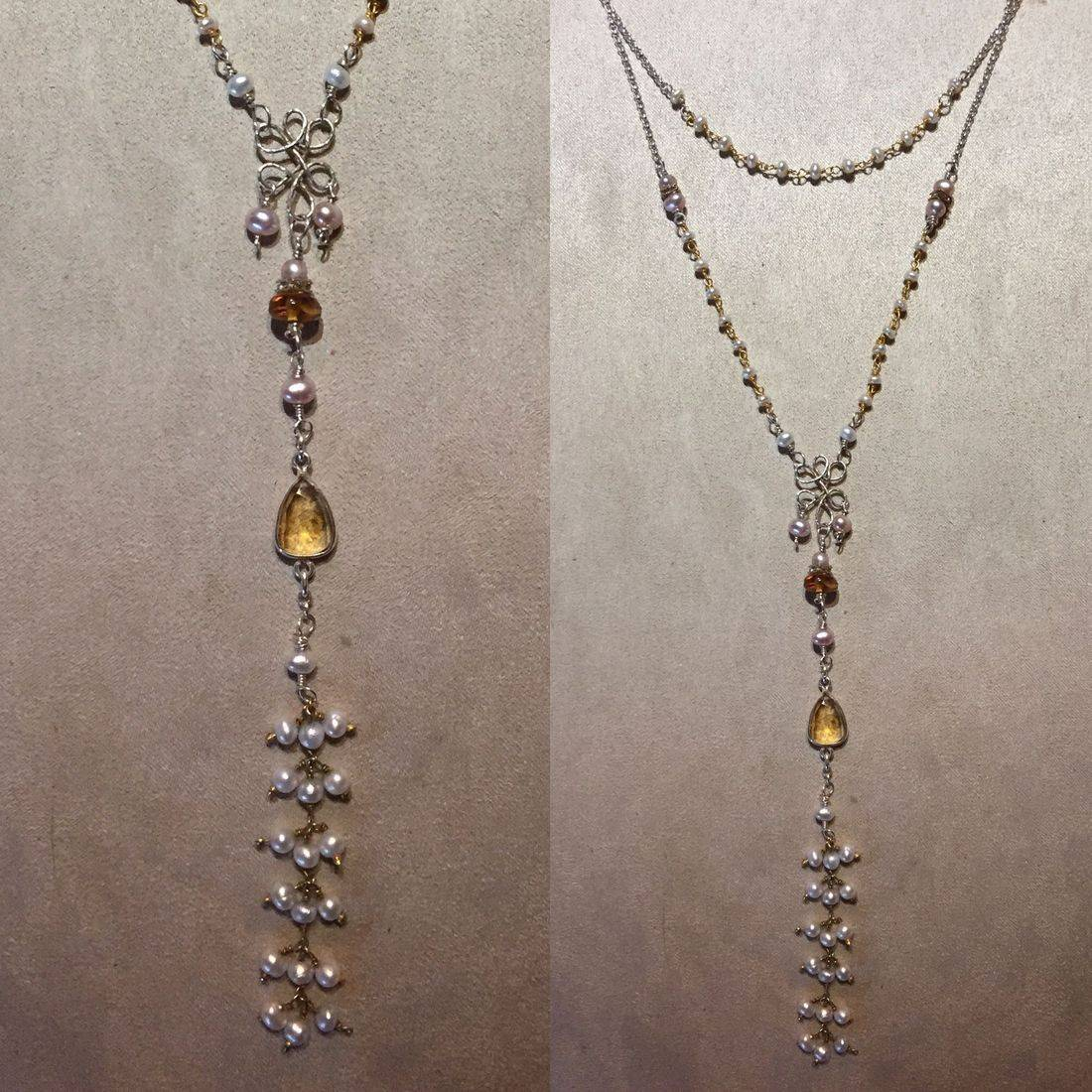"""51"""" gemstone necklace with tiny pears, bezel set citrine, amber and sterling chandelier  & chain"""