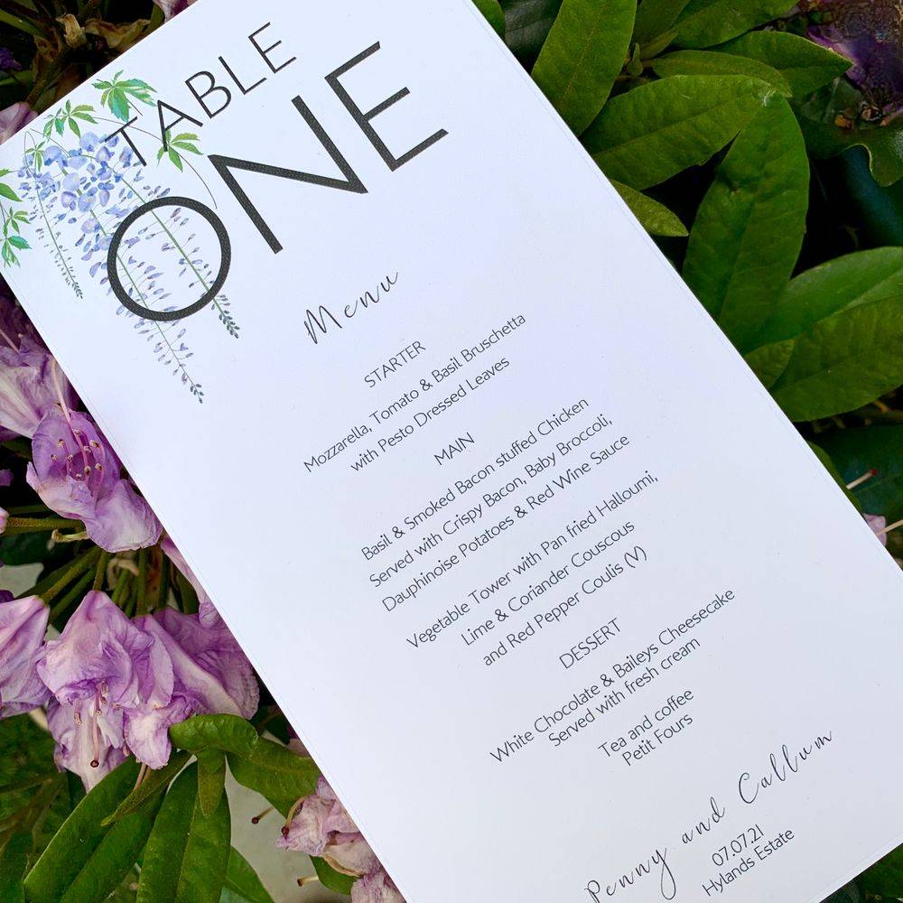 Wedding Table number card with yellow flowers