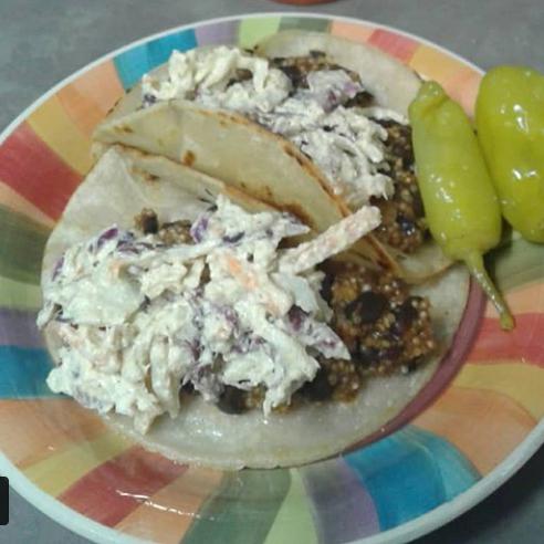 Black bean-quinoa tacos with vegan coleslaw