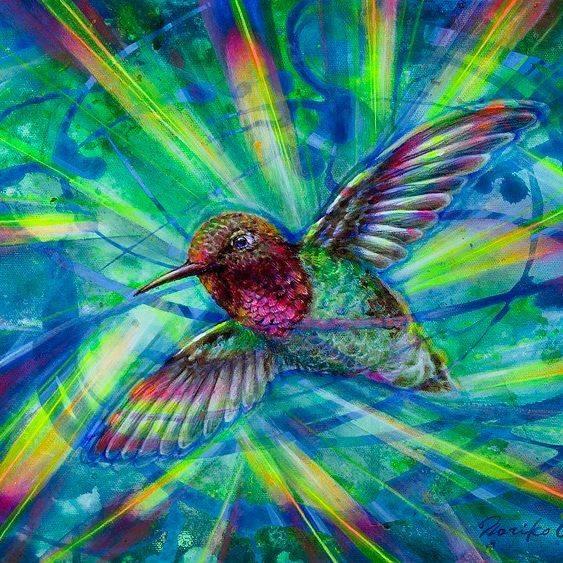 NCooper - Rainbow Hummingbird - Acrylics - 12x12- $155