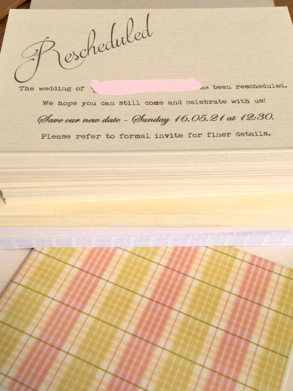 Wedding Reschedule Date Cards