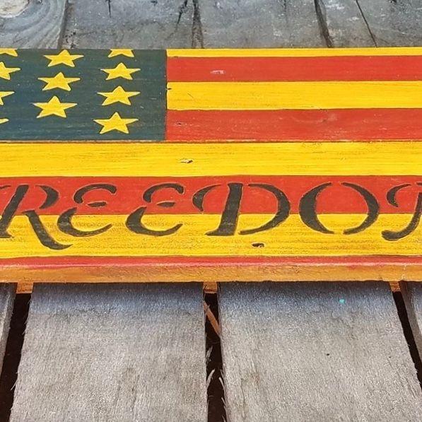 USA Handmade Reclaimed Pallet Wood American Military Army Freedom Flag