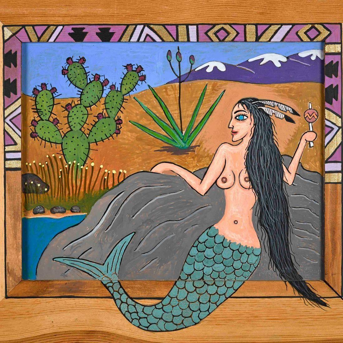 Mermaid, Arroyo, Saguaro, Cactus, Desert, Sexy Woman, Pop Culture, Pop Art, Contemporary Art