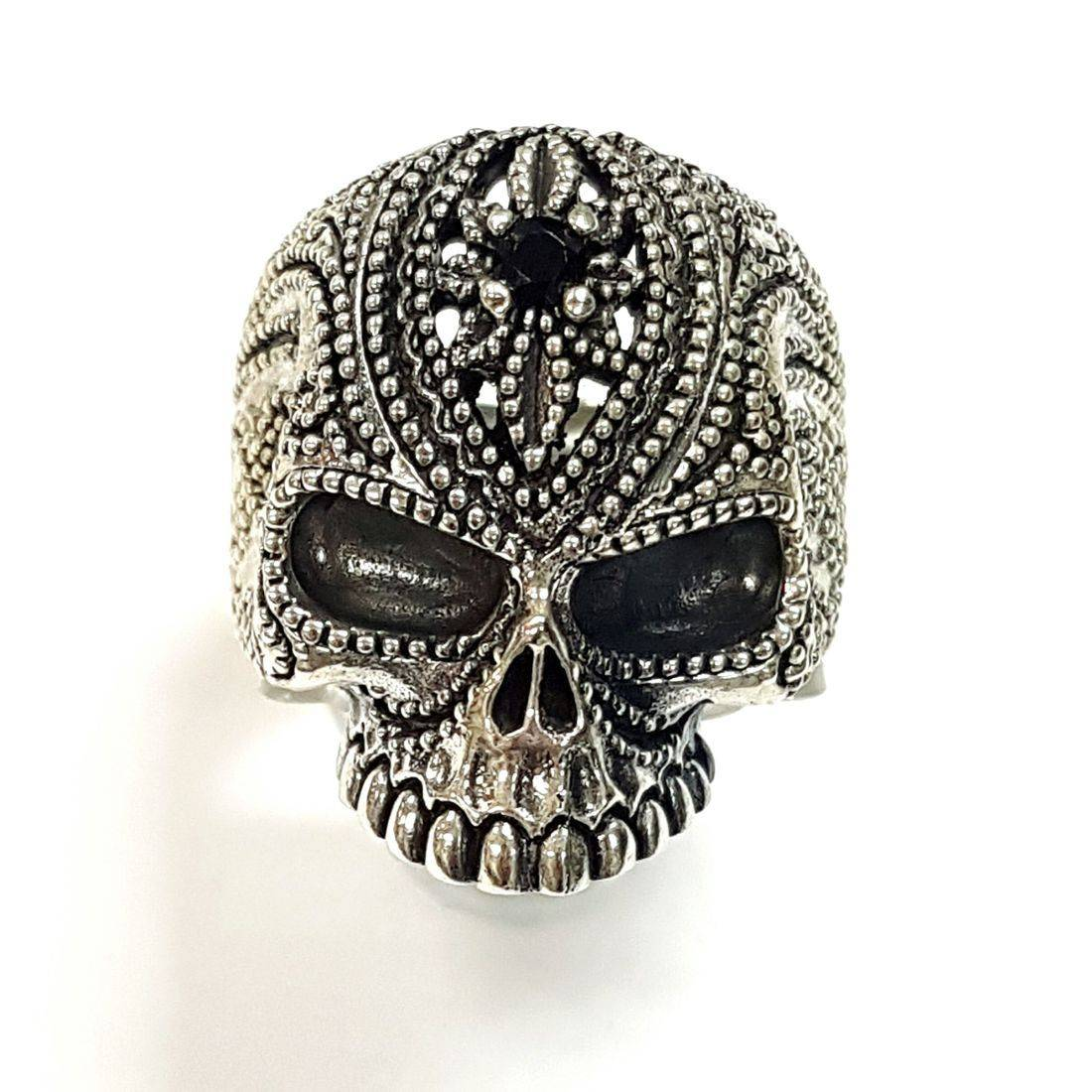 Black Crystal Swirl Skull Ring  available at Kazbah online and our Leicester City Centre shop