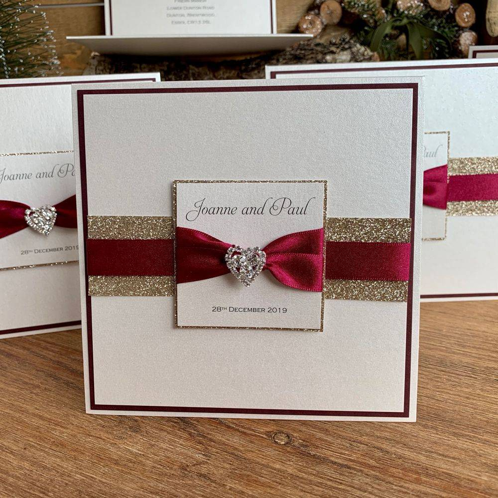 Christmas wedding invitation, gold and wine