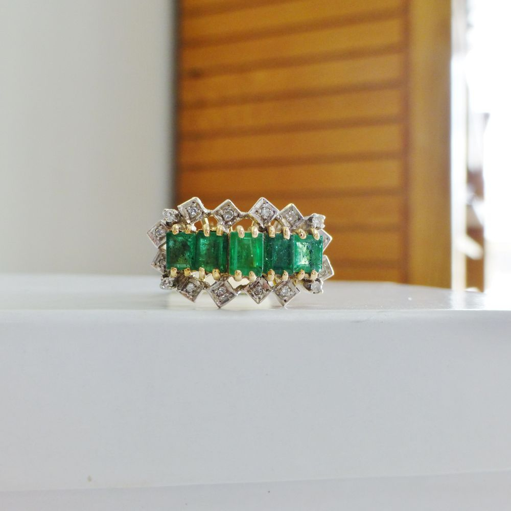 Green Emerald Five Stone Diamond Accent Cocktail Ring in Yellow Gold