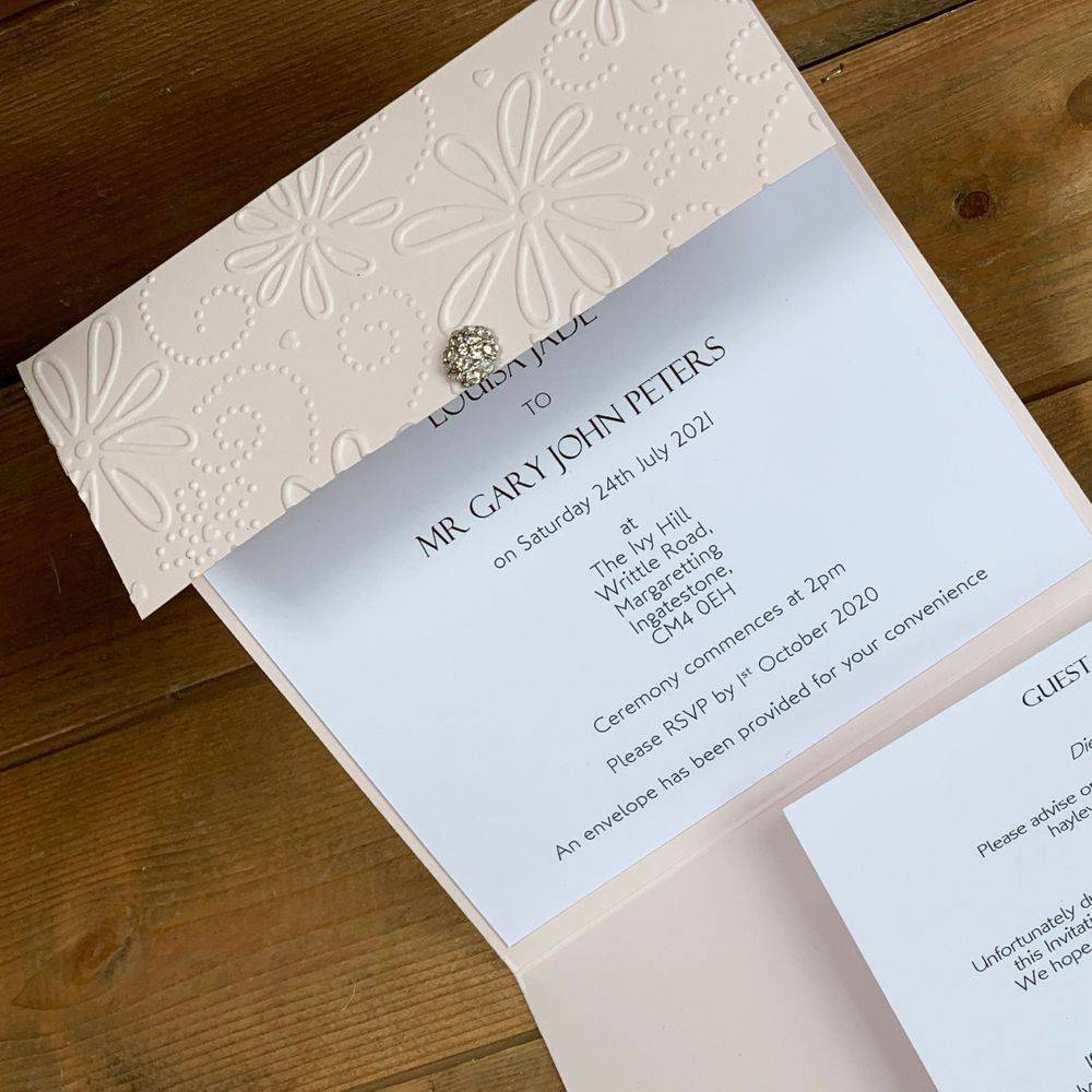 Luxury Embossed Wedding Invitations with pearls and crystals in Blush
