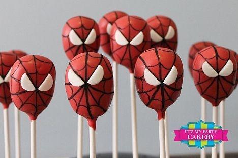 Spiderman Head Cake pops Custom cakepopsStars New Year Cake pops