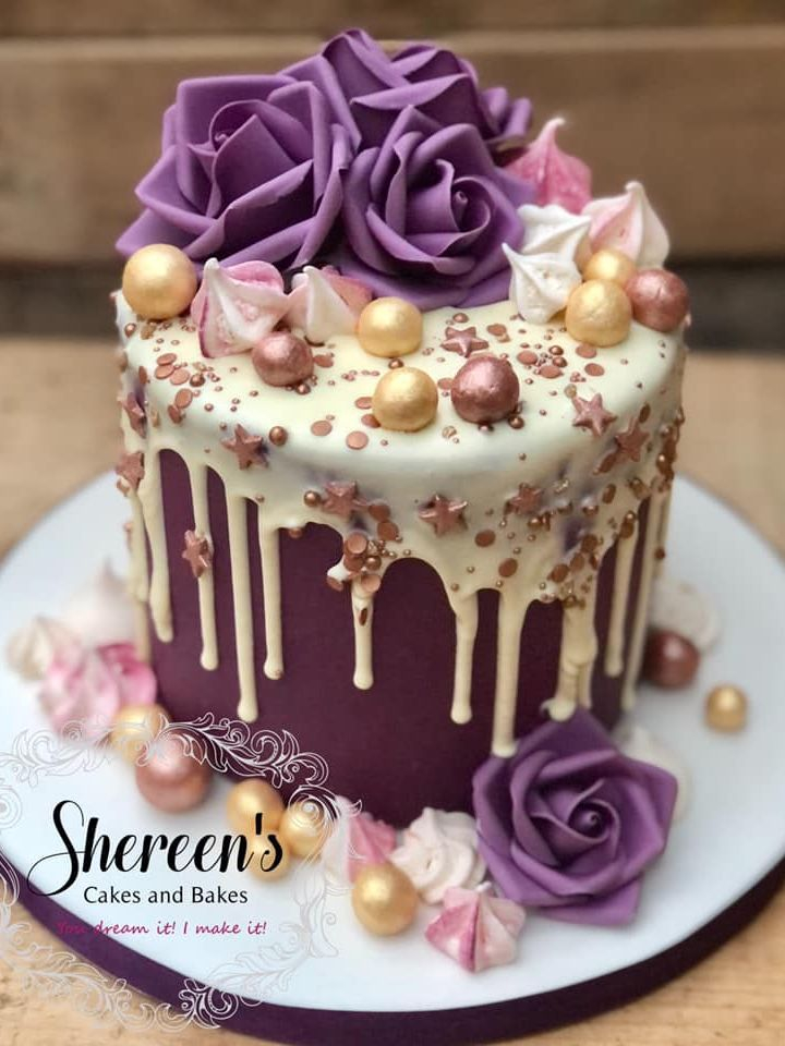 purple pink gold rose drip cake birthday meringues
