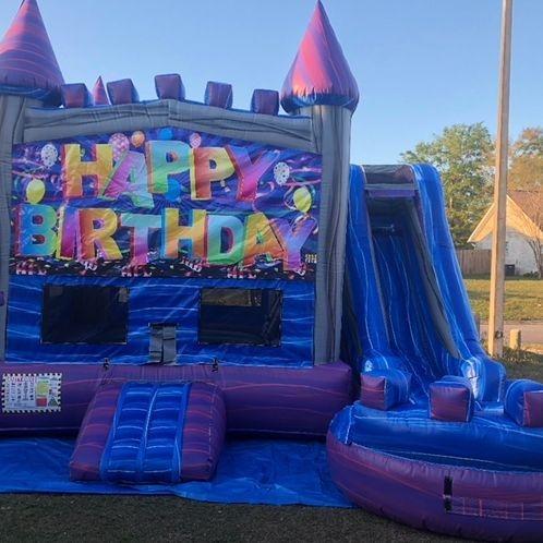Happy Birthday Purple Castle Bounce House Water Slide Combo