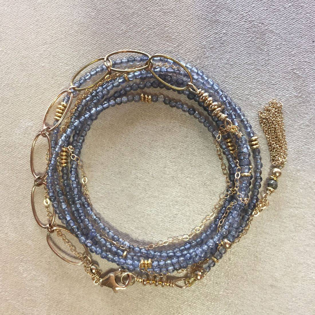gemstone wrap bracelet, AAA iolite, 14k gold filled chain, gold tassel