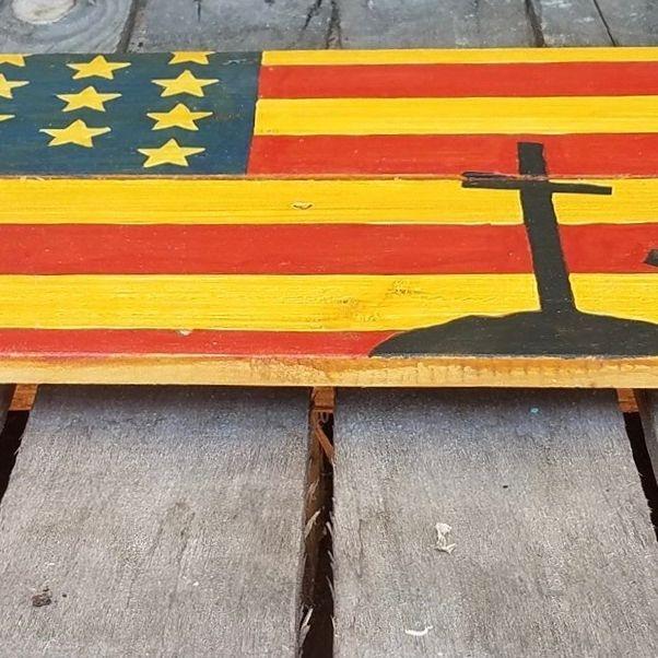 USA Handmade Reclaimed Pallet Wood American Military Army Flag Art