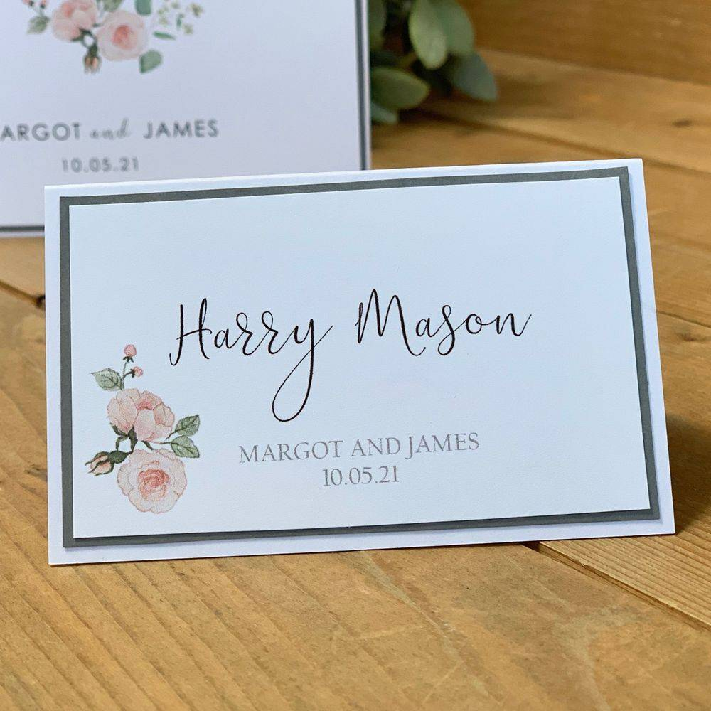 Wedding Place name card with printed guest name and roses, pink and grey