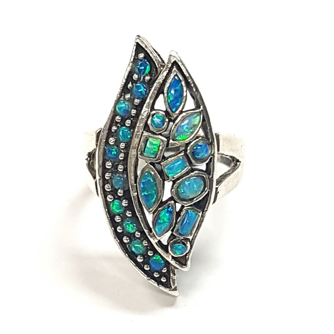 Opal Leaf Ring size o  available at Kazbah online and our Leicester City Centre shop