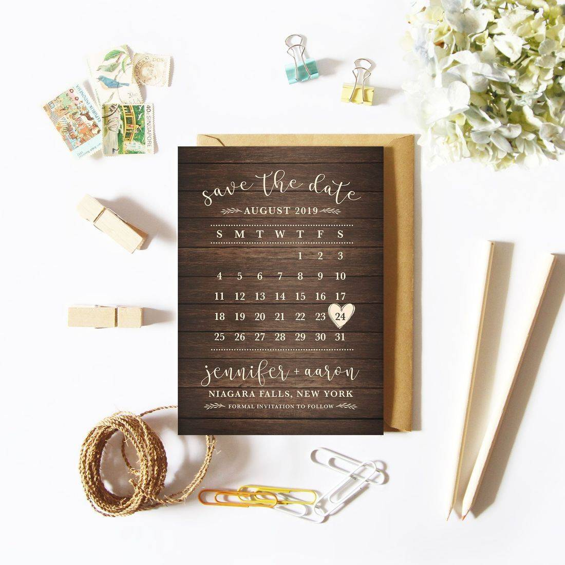 Rustic wood calendar save the dates