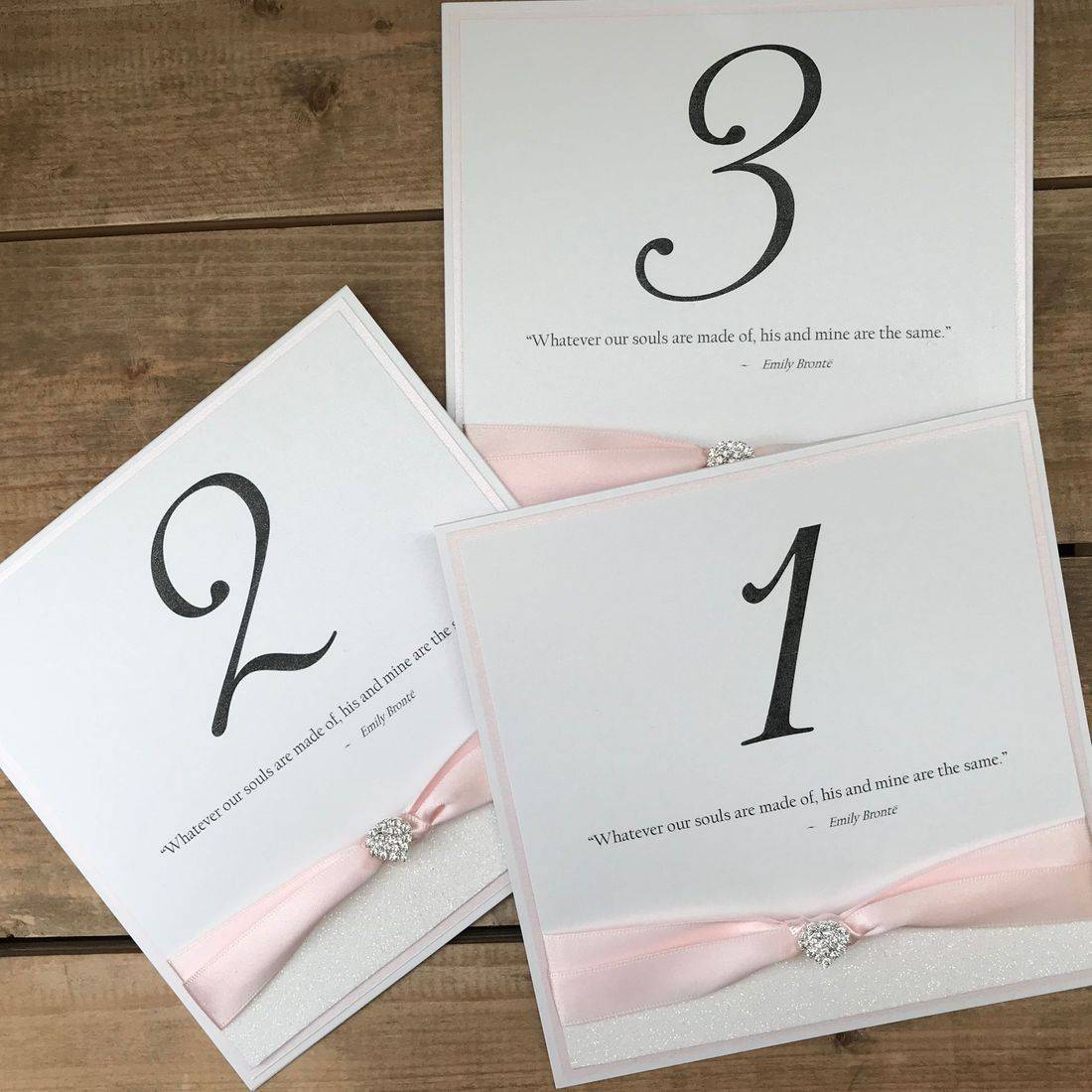 Pink and White Table Cards with Quotes