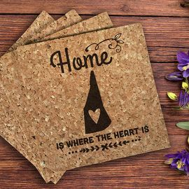 Home is where the heart is, cork hot plate, hot pad