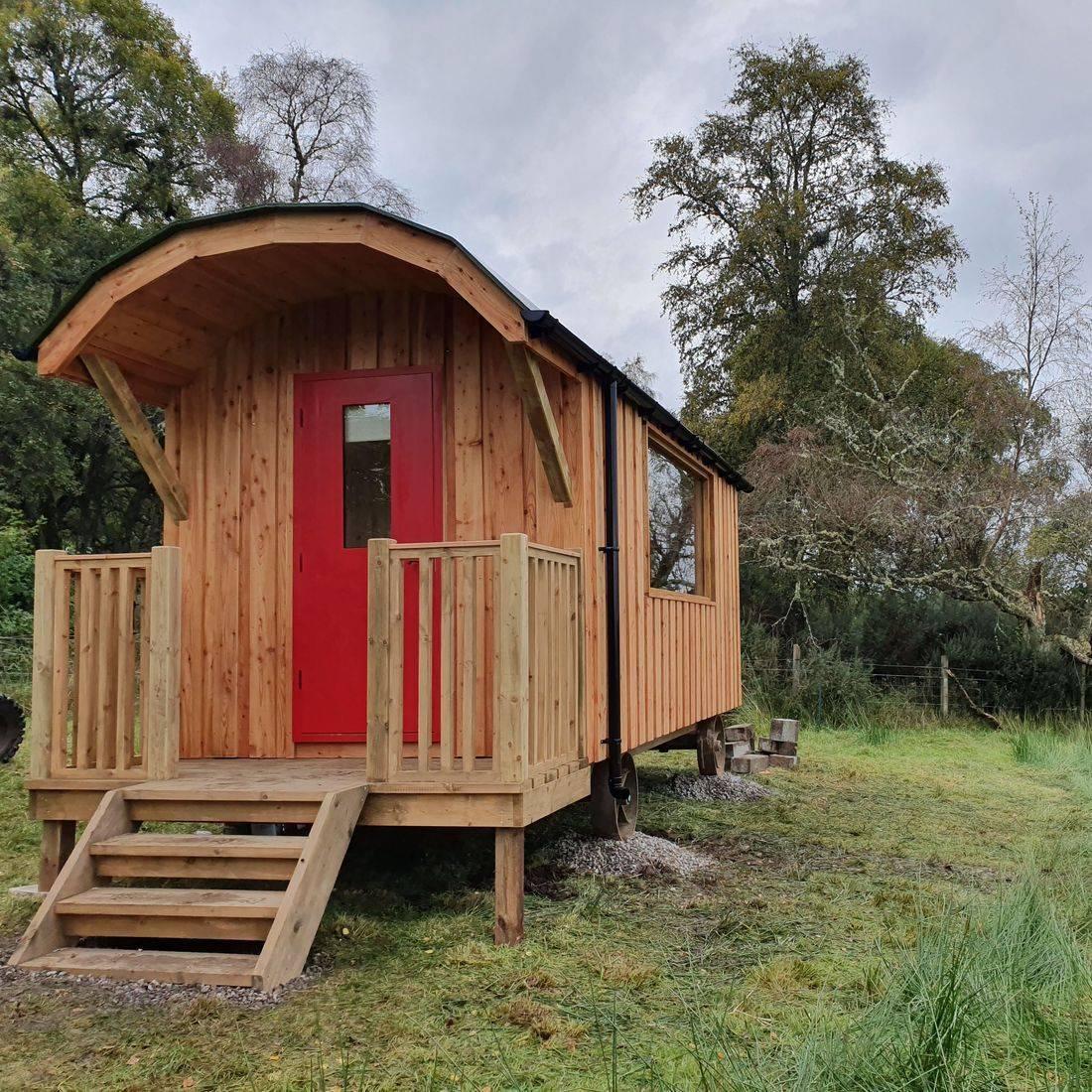 Shepherd hut with mountain views