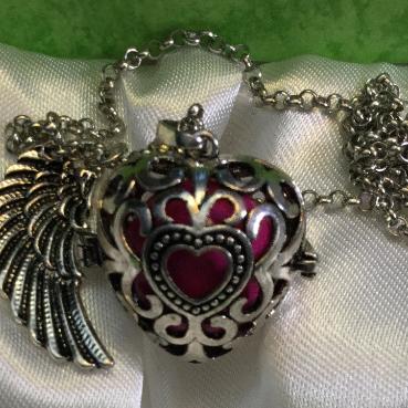 silver, pendant, locket, harmony ball, necklace, chain, heart, angel wings, jingle, harmony, pink, rhinestone, filigre