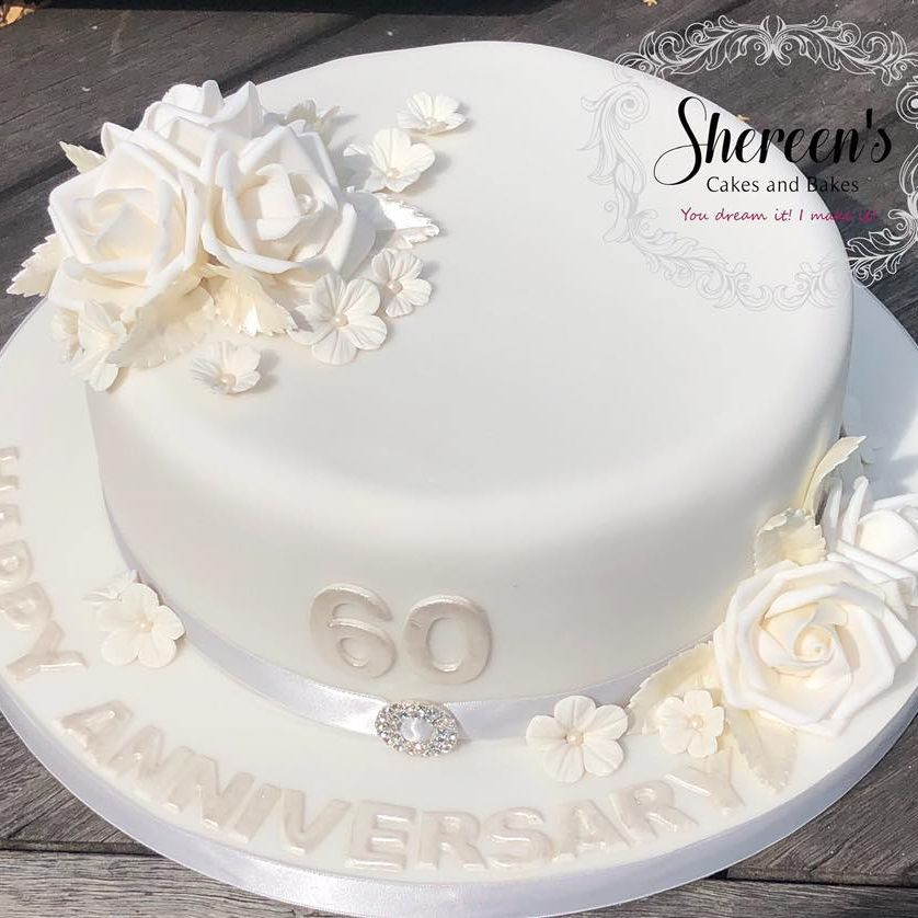 anniversary white pearl 60 years cake roses butterfly flowers