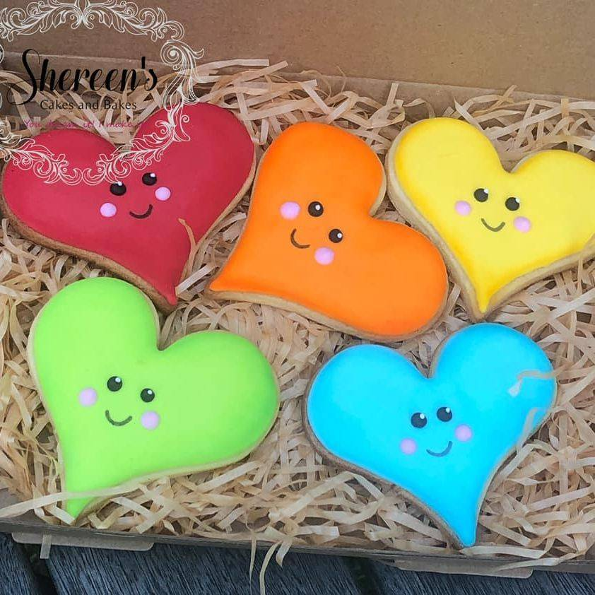 Iced Cookies Biscuits heart love happy kawaii rainbow