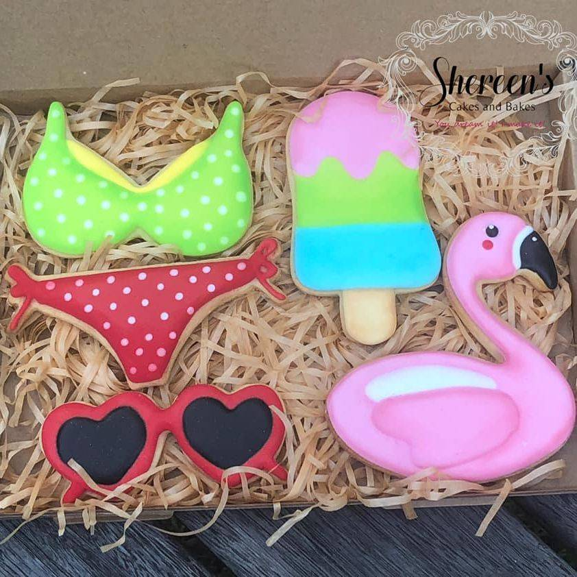 Iced Cookies Biscuits bikini beach sunglasses lolly ice cream flamingo