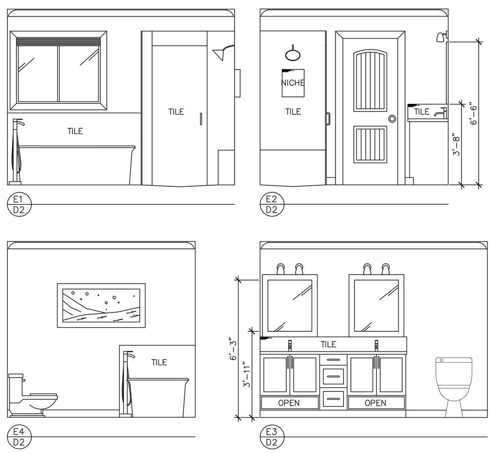 Master Bathroom, space plan elevations, drafting, renovation, interior design