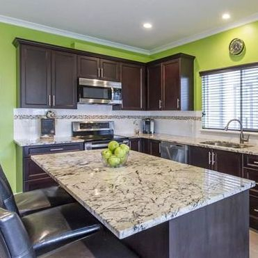 Kitchen, interior design, transitional, contemporary, granite, dark brown cabinets