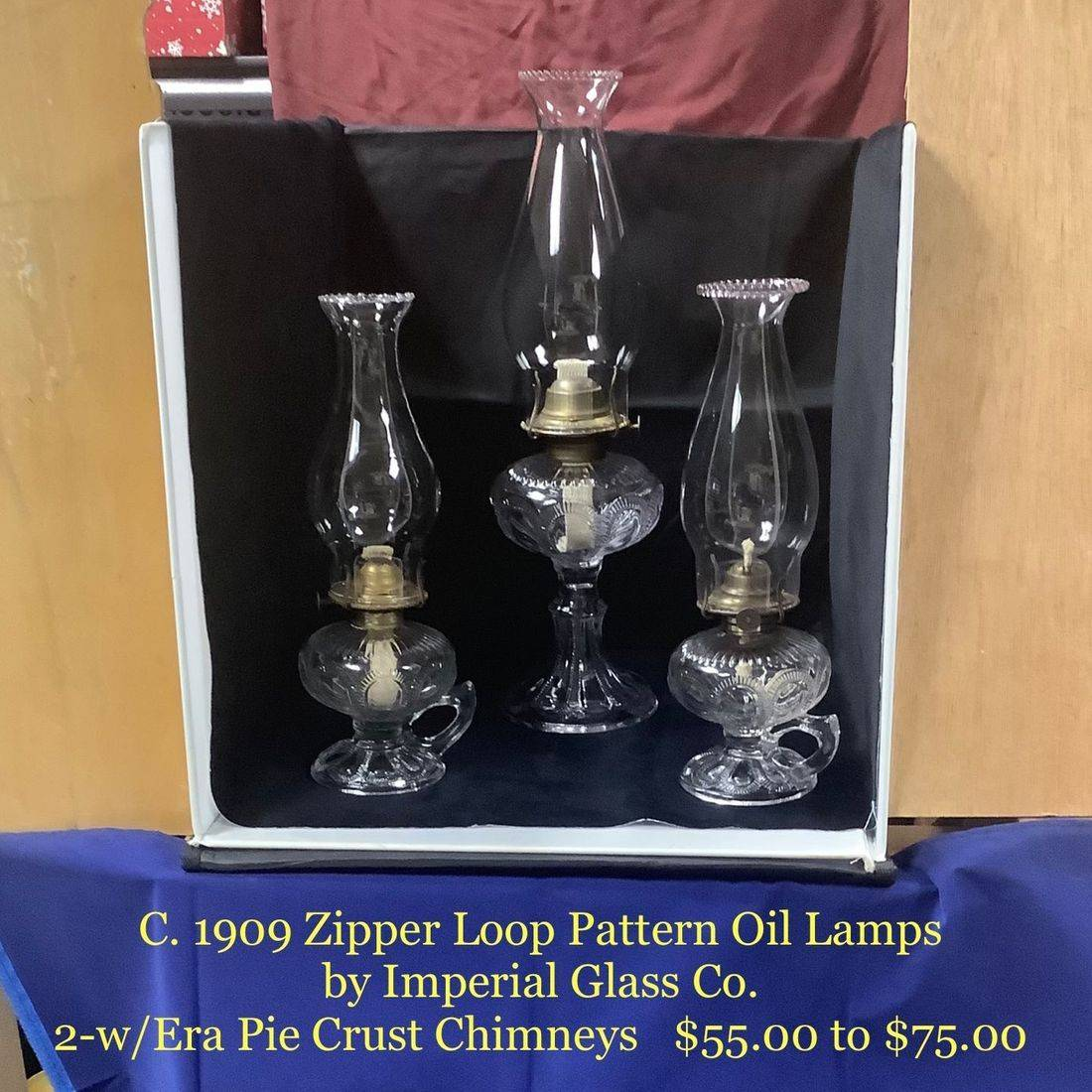 C. 1909 Zipper Loop Pattern Oil Lamps by Imperial Glass Co.   $55.00 to $75.00