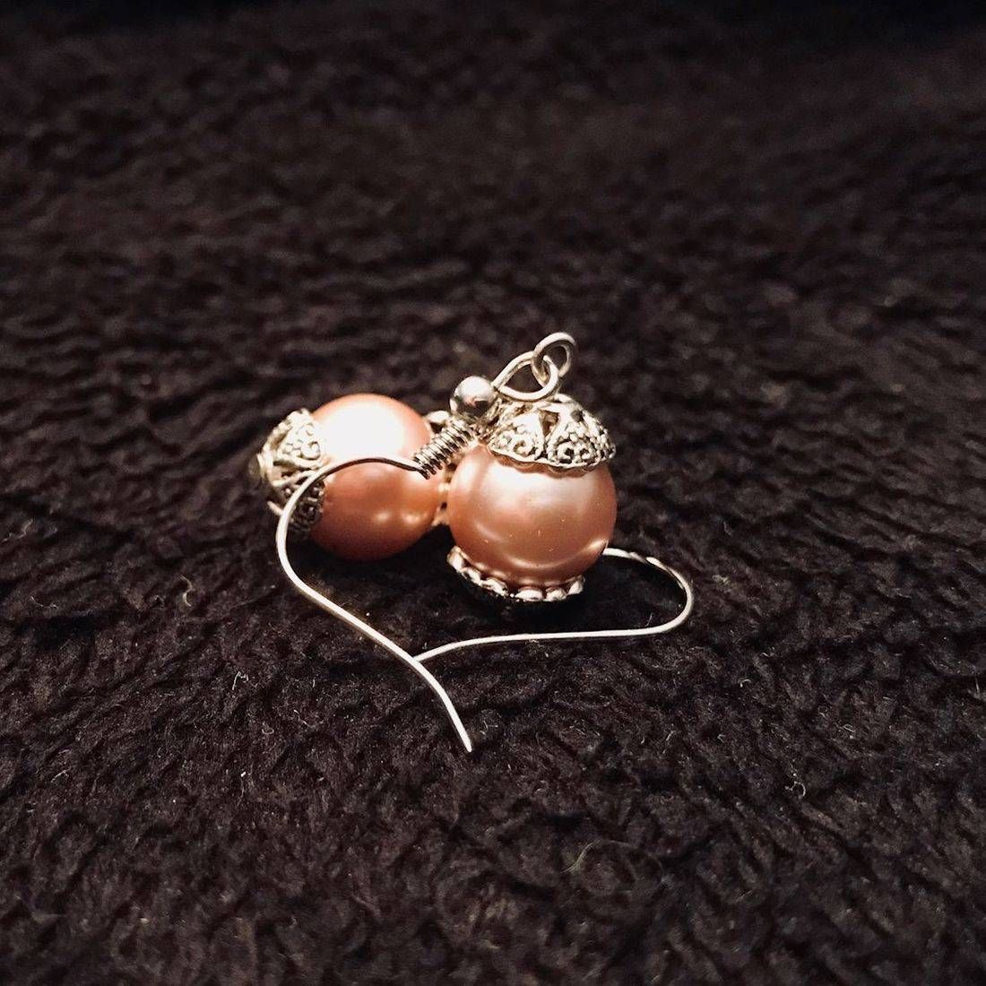 Pink, Earrings, Pearl, Jewelry