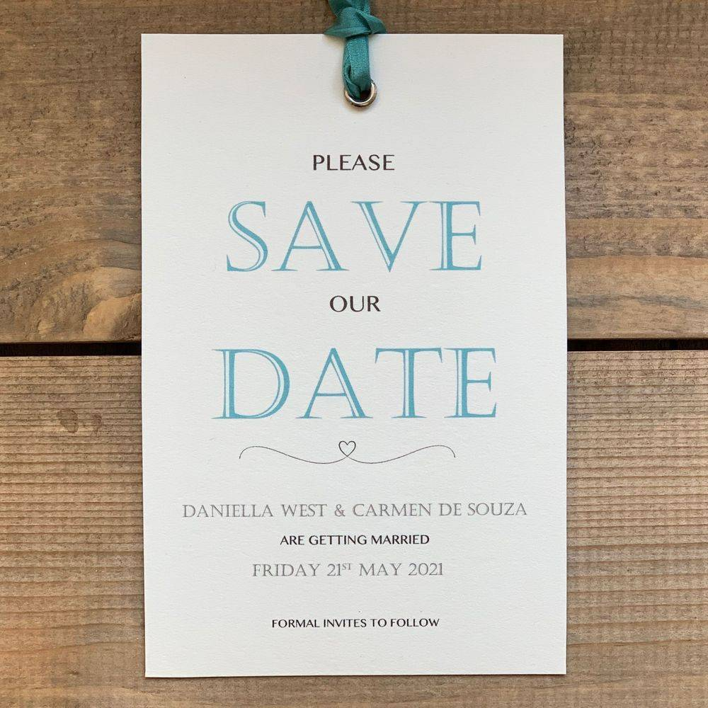 Ivory and teal save the date card