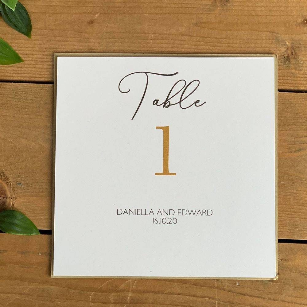 White and Gold Wedding Table Number card with personalisation