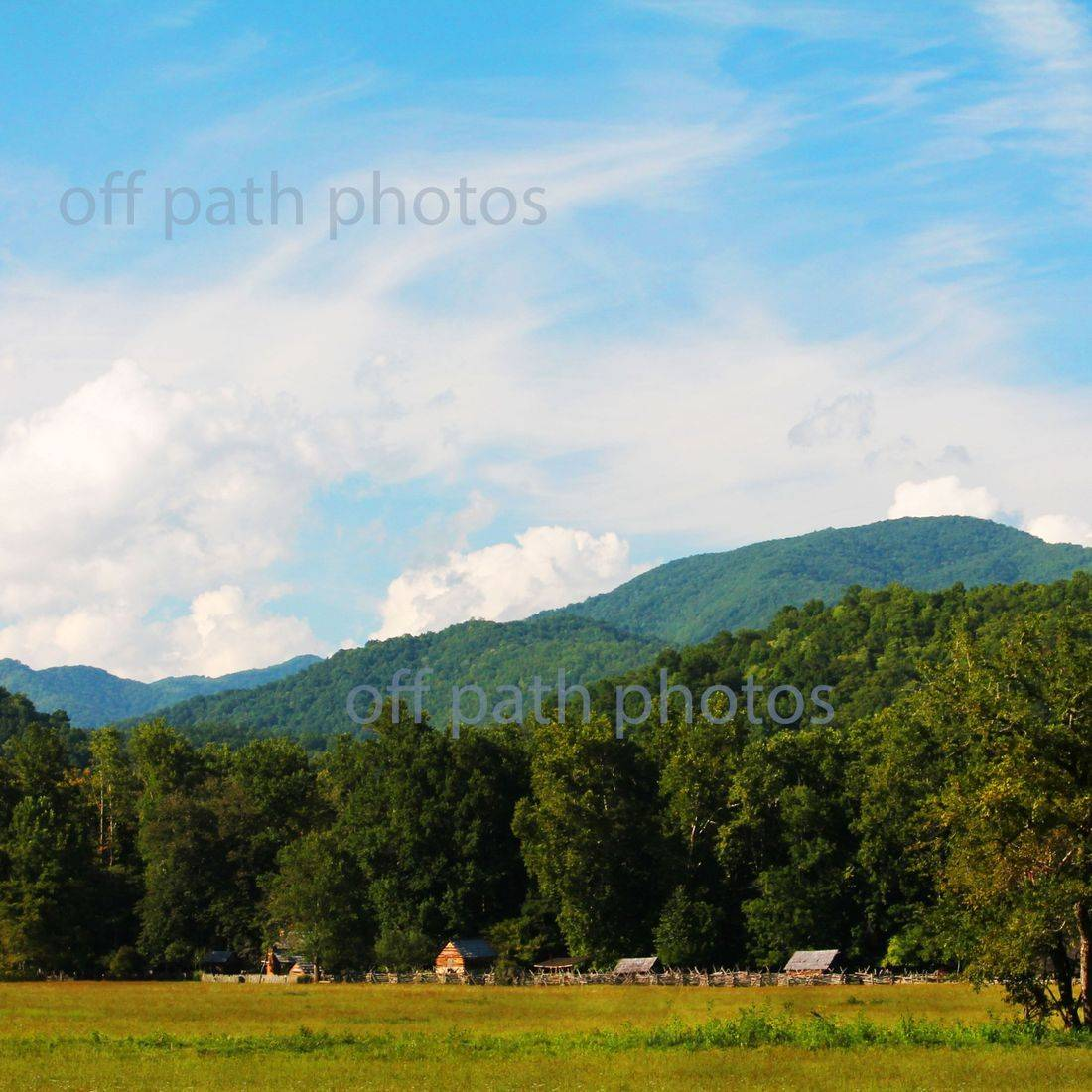 photography, mountains, summer, nature, Tennessee, log cabins, sky, clouds, relaxing