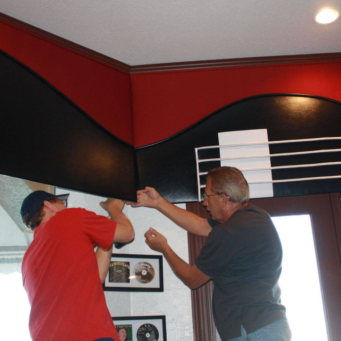 Rock and Roll Guitar Cornice fabricated with leather and custom embroidery  - Music Room Belleair