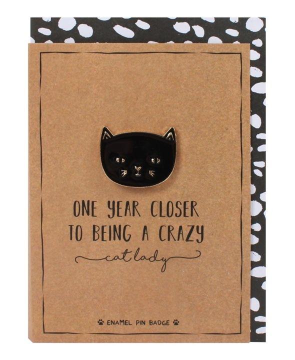 pin badge, cat lady